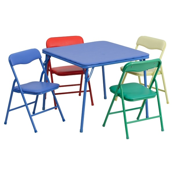 Kids 5 Piece Folding Table and Chair Set - Kids Activity Table Set