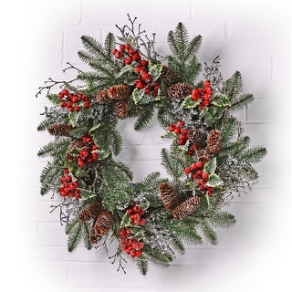 """Link to 24"""" Ice/Sequin Pine  Berry Holly Wreath Similar Items in Christmas Decorations"""