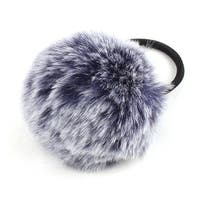 Faux Fur Ball Decor Stretchy Band DIY Hairstyle Ponytail Hairband Navy Blue