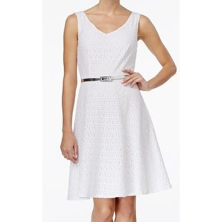 Connected Apparel NEW White Lace Belted Women's Size 12 Sheath Dress