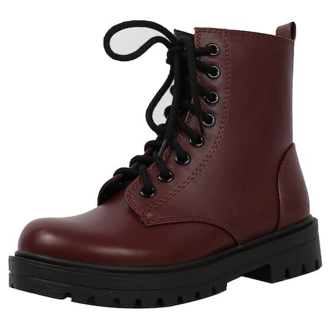 Soda Women's Combat Lace Up Ankle Boot