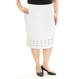 CALVIN KLEIN $67 Womens New 1541 White Pencil Wear To Work Skirt 22W Plus B+B