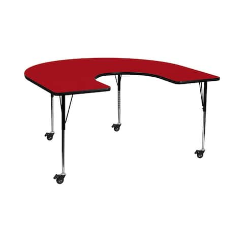 """Offex 60""""W x 66""""L Mobile Horseshoe Activity Table with Red Thermal Fused Laminate Top and Standard Height Adjustable Legs"""
