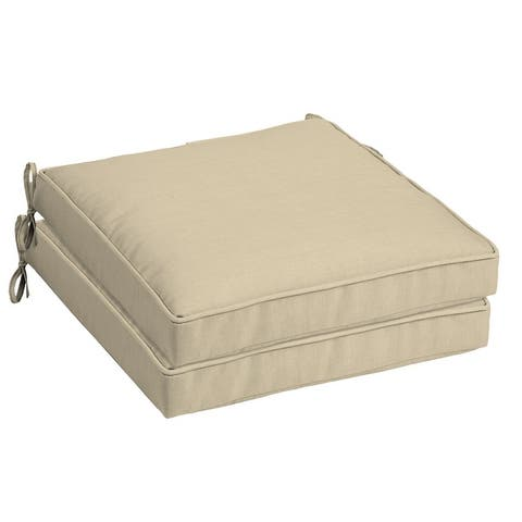 Arden Selections New Tan Leala Outdoor Seat Cushions (Set of 2) - 21 in L x 21 in W x 5 in H