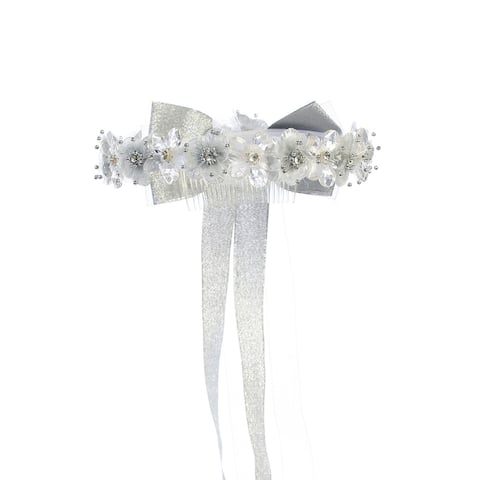 Kids Dream Girls Sparkle Floral Long Bow Flower Girl Hair Tiara Crown - One Size