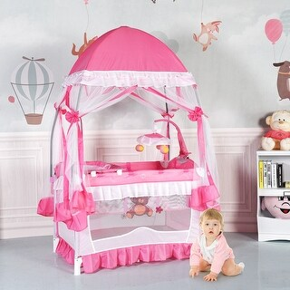 Costway Portable Baby Playpen Crib Cradle Bassinet Changing Pad Mosquito Net Toys w Bag - Pink