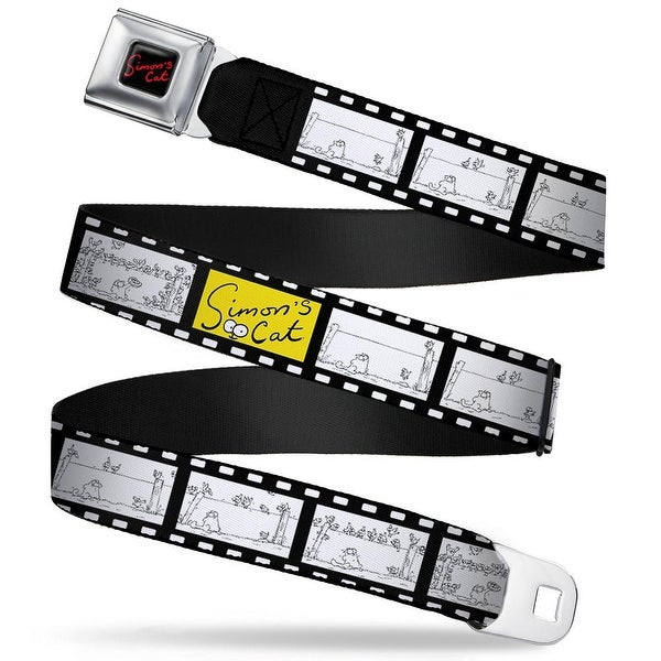Simon's Cat Full Color Black Red Simon's Cat Film Strip Black White Webbing Seatbelt Belt