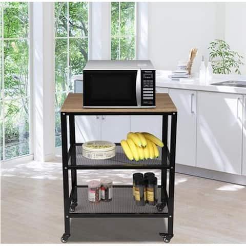 3-Tier Kitchen Microwave Cart, Rolling Kitchen Utility Cart,Brown