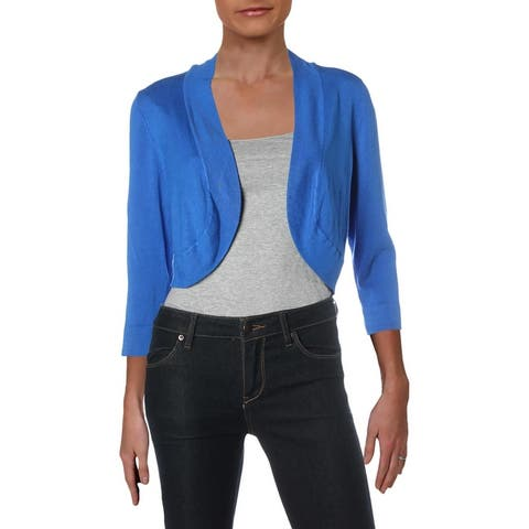 Jessica Howard Womens Crop Sweater Knit Open Front - Royal