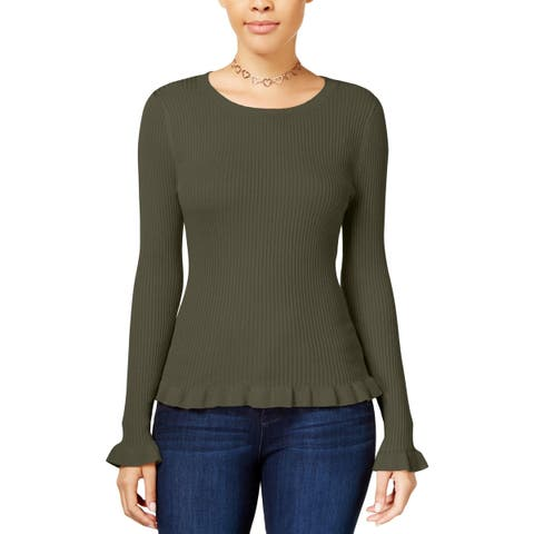 Hooked Up by IOT Womens Pullover Sweater Ribbed Ruffled Hem - L