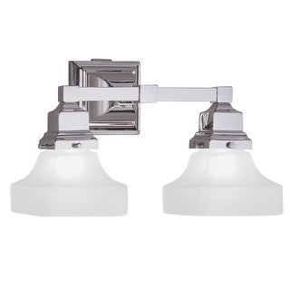 "Norwell Lighting 8122 Birmingham 9"" Tall 2 Light Bathroom Vanity Light with White Glass Shades"