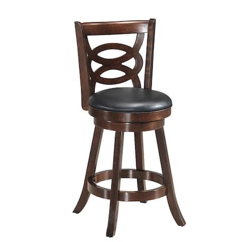 Counter Height Upholstered Espresso Swivel Dining Chair-24""