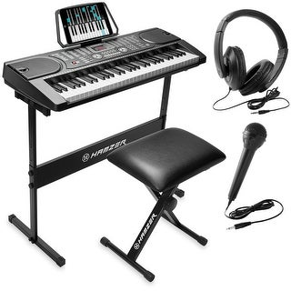 61-Key Digital Music Piano Keyboard - Portable Electronic Musical Instrument - Black