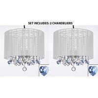 Set of 2 - Crystal Chandelier With Large White Shade and Blue Crystal Hearts