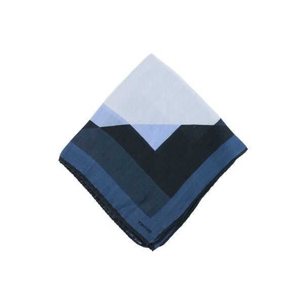 Tom Ford Blue Colorblock Geometric Silk Blend Pocket Square