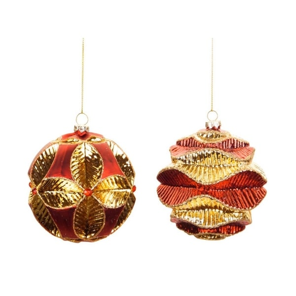 Pack of 6 Red Glass Wavy Ribbed Christmas Ball Ornaments 3.5""