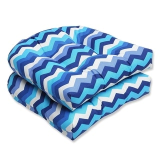 Set of 2 Rayas Azules Blue, Navy & White Chevron Striped Outdoor Patio Wicker Chair Cushions 19""