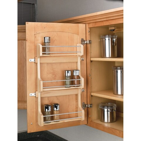 "Rev-A-Shelf 4SR-18 4SR Series Door Mount Spice Rack for 18"" Wall Cabinet - Natural Wood - N/A"