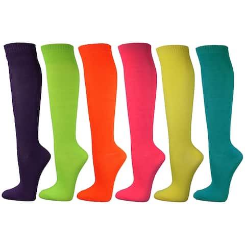 Neon Solid Ladies Colorful Variety Assorted Knee High Stocking Socks - 6 Packs