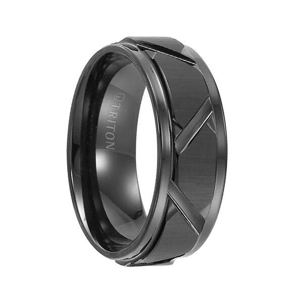 KEEGAN Step Edge Black Tungsten Wedding Band with Vertical Satin Finish Bright Edges Diagonal Cuts by Triton Rings - 8mm