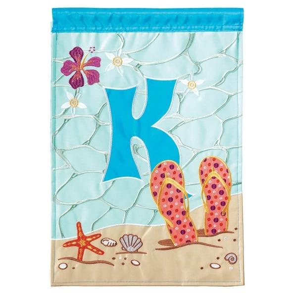 "Blue and Orange ""K"" Printed Rectangular Garden Flag 18"" x 13"" - N/A"