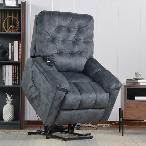 Soft Fabric Power Lift Recliner Chair with Remote