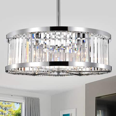 Dario Chrome Ceiling Fan 30-Inch 6-Light Metal & Crystal Drum Shade (Includes Remote)