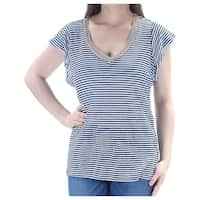 MAISON JULES Womens Navy Striped Short Sleeve V Neck Top  Size: L
