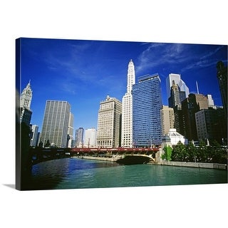 """""""Chicago river and downtown in Chicago, Illinois, USA"""" Canvas Wall Art"""