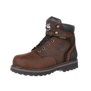 "Georgia Boot Work Mens 6"" Brookville Steel Toe WP Dark Brown G7334"