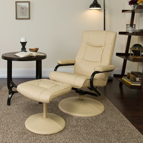Contemporary Multi-Position Recliner and Ottoman with Wrapped Base. Opens flyout.