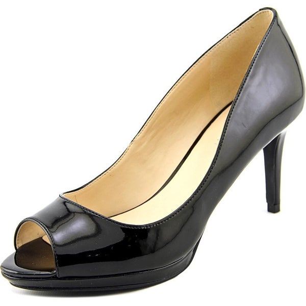 Nine West Gelabelle Women Peep-Toe Leather Black Heels
