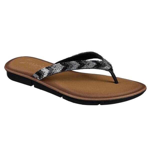 Skechers 38965 BKGY Women's INDULGE 2-GLITZ AND GLAM Sandal