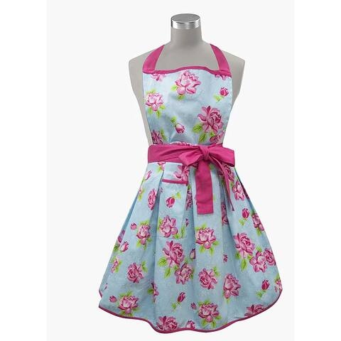Womens Kitchen Apron 100% Cotton Made in India (Blue Floral)