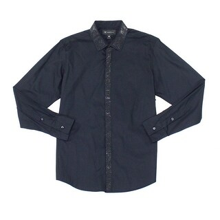 INC NEW Deep Black Mens Size Small S Embellished Long-Sleeve Shirt