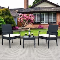 Costway 3 PS Outdoor Rattan Patio Furniture Set Backyard Garden Furniture Seat Cushioned - Black