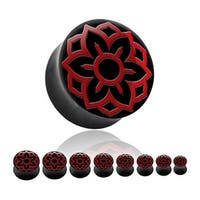 Horn Saddle Plug with Red Lotus Inlay (Sold Individually)