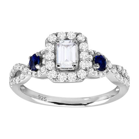 2 ct Cubic Zirconia & Created Sapphire Engagement Ring in Rhodium-Plated Sterling Silver - White