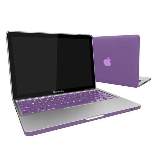 "Rubber Coated Hard Case Cover With Keyboard Skin for Macbook Pro 15"" Retina Display (A1398) Purple"