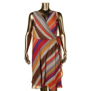 Lauren Ralph Lauren Womens Plus Wrap Dress Striped Asymmetric