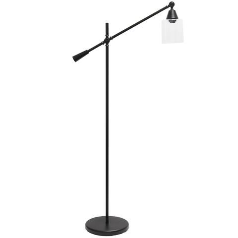 Lalia Home Clear Glass Swing Arm Floor Lamp