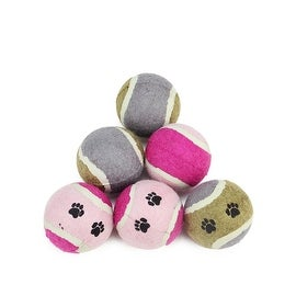 6-Piece Set of Pink Brown and Gray Tennis Ball Puppy Dog Toys