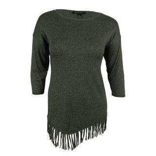 INC International Concepts Women's 3/4 Sleeve Fringe Sweater