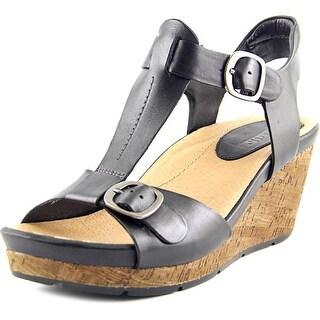 Earth Scorpio Women Open Toe Leather Black Wedge Sandal