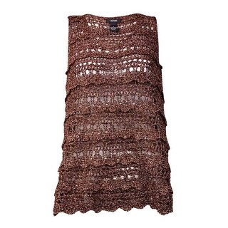 Alfani Women's Lurex Crochet Shell Top - copper metallic