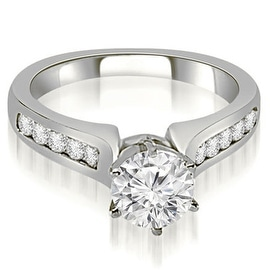 0.80 cttw. 14K White Gold Channel Set Round Cut Diamond Engagement Ring