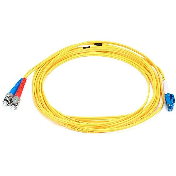 Monoprice Fiber Optic Cable - LC to ST, 9/125 Type, Single Mode, Duplex, Yellow, 5m