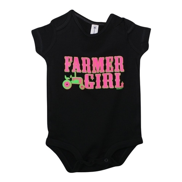 "Baby Girls Black ""Southern Kinda"" Print Snap Closure Short Sleeve Bodysuit"