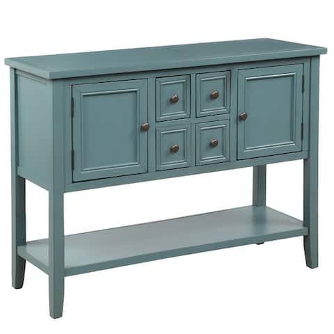 Vintage 46'' Wide 4 Drawer Buffet Sideboard with Bottom Shelf, Storage Cabinet