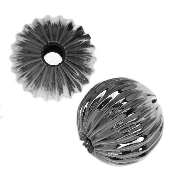Gunmetal Plated Corrugated Round Beads 8mm (10)